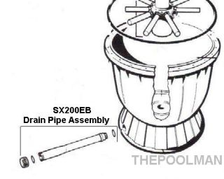 Hayward Filter Drain Pipe Assembly with Gaskets SX200EB