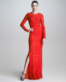 Pointelle Knit Long Sleeve Maxi Dress