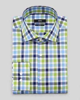 N23L2 Hugo Boss Slim Fit Check Dress Shirt, Blue/Green