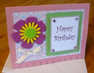 Customized Happy Birthday Handmade Greeting Card Big Flower Gems