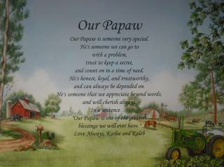 OUR PAPAW PERSONALIZED POEM BIRTHDAY, CHRISTMAS OR FATHERS DAY GIFT