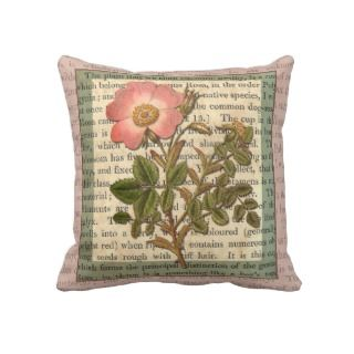 Elegant Pink Dog Rose / Tea Rose Throw Pillow