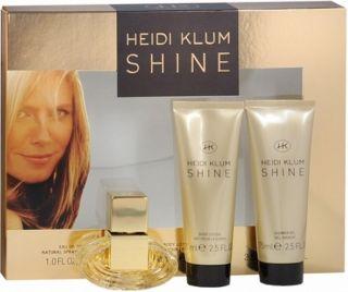 Heidi Klum Shine 3pc Gift Set 1 oz EDT spray 2 5 oz Body Lotion Shower