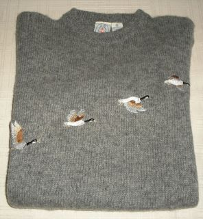 VINTAGE J.G. HOOK CHARCOAL GREY LS PREPPY FLYING GEESE SWEATER SIZE