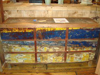 Cabinet Dresser Console w Drawers Reclaimed Fishing Boat Wood Teak