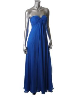 Hoaglund Blue Silk Padded Bust Slash Neck Strapless Lined Formal Dress