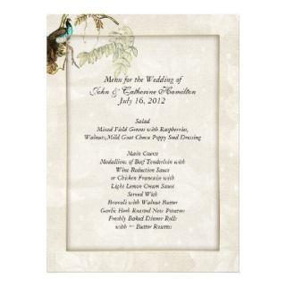 Chic Peacock Wedding Menus Custom Invitations