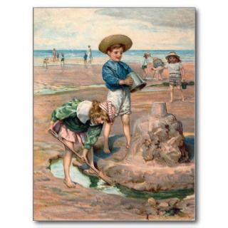 KRW Vintage Beach Illustration Postcard