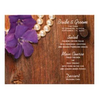 Periwinkle and Pearls Country Wedding Menu Custom Flyer