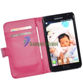 PINK LEATHER HARD COVER WALLET for Samsung Galaxy Note LTE I717 I9220