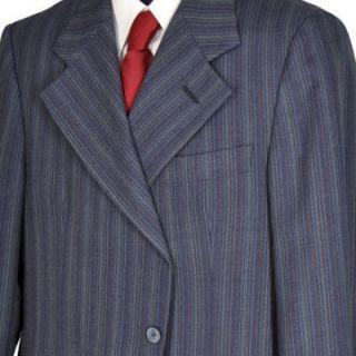 40R Vintage 70s Augustus Dark Blue Pinstripe Two Button Wool Blend