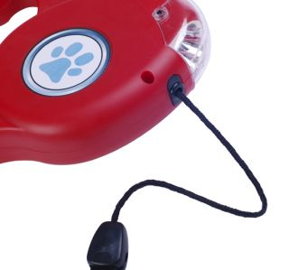 New 15FT Automatic Retractable Pet Dog Leash With LED Light Red