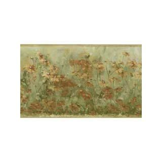 Green Floral Wallpaper Border Pattern Number BG76324L