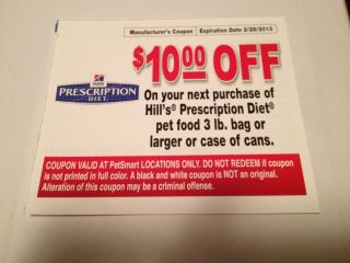 Petsmart Coupon for HILLS PRESCRIPTION DIET Dog Cat Food 10 OFF lot 8