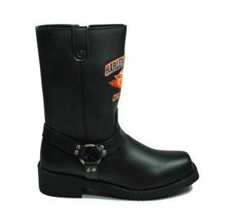 Harley Davidson Hog Wild Black Motorcycle Boots for Big Boys Style