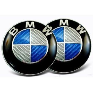 2X 04 10 BMW X3 82mm Hood/Trunk Emblems Carbon Fiber Blue/Silver