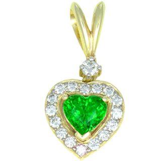 Tsavorite Garnet Diamond Heart Shaped Pendant