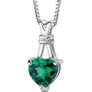 Heart Shape Checkerboard Cut Emerald Pendant 18 inch Necklace
