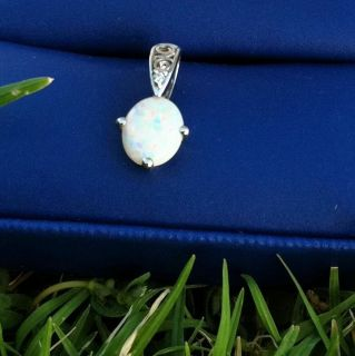14k White Gold, Opal And Diamond Pendant Amazing Estate Find. October