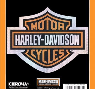 Harley Davidson Orange Bar Shield Holographix Large Decal