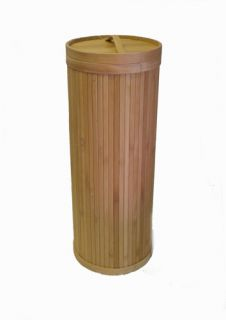 eco bamboo 3 roll upright toilet paper tissue holder storage bathroom