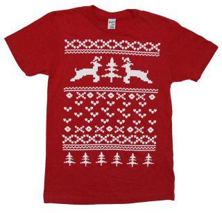 Reindeer Christmas Sweater Funny Xmas Holiday Adult T Shirt Tee