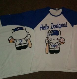 Hello Kitty Dodgers Womans 3 4 Sleeve Baseball T Shirt