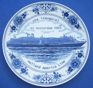 Blue Delft Holland America Line Oosterdam SHIP Plate