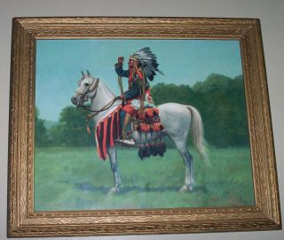 Vintage print, H.Y, Hintermeister, Indian Chief in Full Dress on Horse