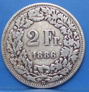 1886 B Switzerland Helvetia 2 Francs Great Swiss Silver Coin