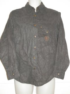 Harley Davidson Motorcycle Button up Faux Suede Gray Mens Medium M