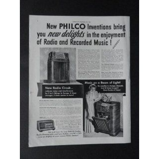 Philco Radio Phonograph, full page print ad. 10 1/2 x 13