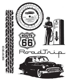 Tim Holtz Cling Rubber Stamp CMS128 Road Trip Automobile New Spring
