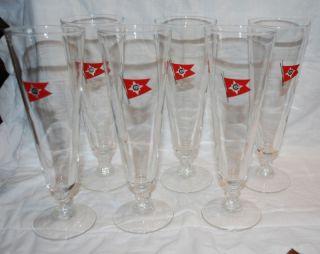 Set of 6 Central Gulf Lines Pilsner Glasses Red Flag