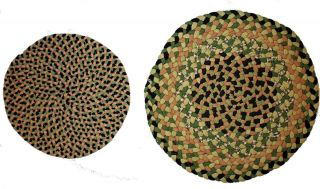 Antique American Round Braided Chair Mats Rugs 1 and 1 4 1960