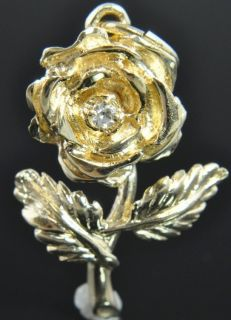 Henry Dankner Estate Vtg 14K Yellow Gold Diamond Rose Flower 3D Charm