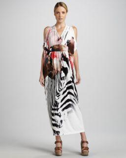 Melissa Masse Zebra Print Caftan Dress, Womens