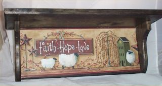Primitive Black Plate Rack Home Decor Kitchen Faith Hope Love