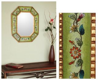 ON Pale GREEN Reverse HAND PAINTED Glass w/BRONZE LEAF Wall Mirror ART