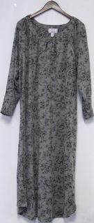 Carole Hochman Sz 1x Antique Flower Long Sleeve 51 Dress Heather Grey