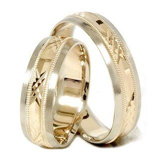 LOVELY Matching His Hers Diamond Cut Wedding Band Set 14K Yellow Gold