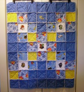 POTTER RAG QUILT EMBROIDERED WITH HOGWARTS HOUSES, HARRY POTTER FABRIC