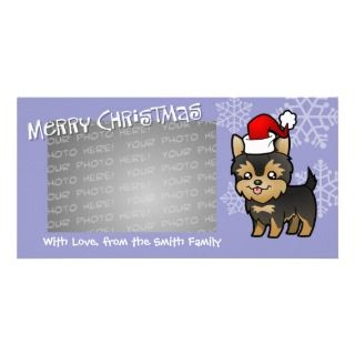Christmas Yorkie (puppy with bow) Photo Greeting Card