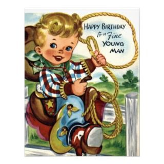 Little Cowboy   Retro Happy Birthday Card Personalized Invite