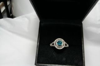 Beautiful Blue and White Diamond Ring in White Gold