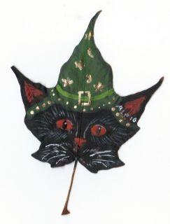 BLACK CAT WIZARD! LEAF FOLKART PAINTING by Artist GREEN HAT  OOAK