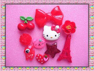 Mix Hello Kitty Bow Eiffel Tower DIY Flatback Kawaii Cabochon