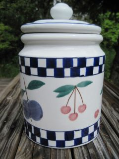 Hartstone Pottery Cookie Jar Fruit Salad Blue Checked Large Cherry