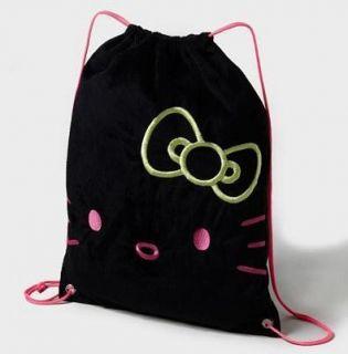 CB14 Hello Kitty Black Drawstring Backpack Bag Bookbag Neon Pink 17 1