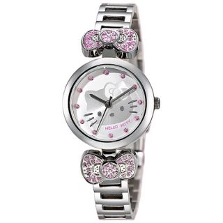 Hello Kitty Womens Crystal Watch Ribbon LK601LW White